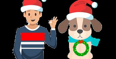 Disfraces mascota y amo a juego navidad