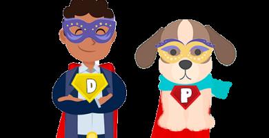Disfraces perro y dueño de superheroe